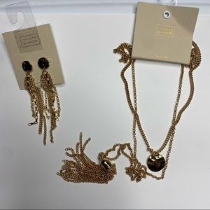NWT 14th & union earnings and necklace set